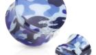Blue Green Camouflage Printed UV Acrylic Double Flared Plug